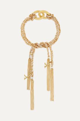 Carolina Bucci Kiss Lucky 18-karat Gold, Diamond And Silk Bracelet