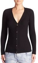Alexander Wang Pierced Ribbed Cotton Cardigan
