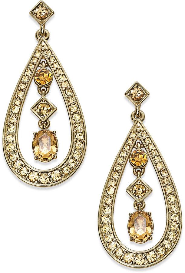 Charter Club Gold-Tone Topaz Glass Teardrop Earrings