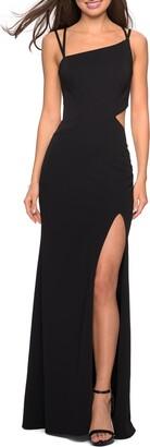 La Femme High Slit Strappy Back Gown