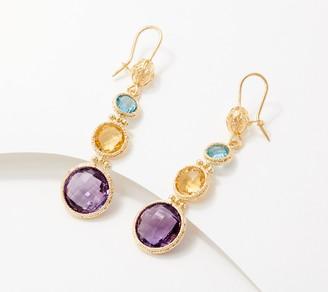 Arte d'Oro 12.8 ct Multi-Gemstone Drop Earrings, 18K Gold