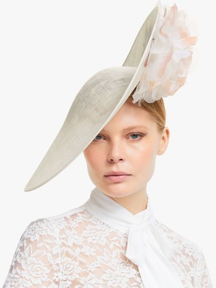 Bundle MacLaren Millinery Cosette Rose Detail Side Disc Occasion Hat, Ivory/Coral
