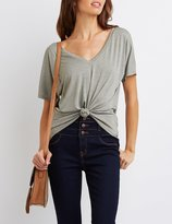 Charlotte Russe Knotted Lattice-Back Tee