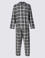 Marks and Spencer Brushed Cotton Stay Soft Checked Pyjamas