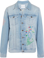 Mira Mikati Candy Embroidered Embellished Denim Jacket - Light denim