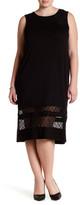Loveappella Lace Paneled Midi Dress (Plus Size)