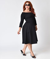 Bettie Page Plus Size Black Off Shoulder Knit Sleeved Lucy Swing Dress
