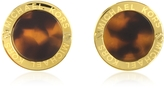 Michael Kors Heritage Logo Tortoise Acetate Gold-tone Stud Earrings