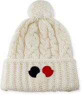 Moncler Cable-Knit Pom-Pom Beanie Hat w/Dots
