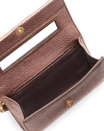 Brian Atwood Tippy Metallic Crystal Wristlet Clutch Bag, Blush