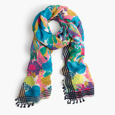 J.Crew Seaside floral scarf with tassels