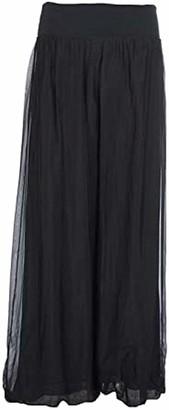 NAC Plain Ladies Italian Lagenlook Trousers Leggings One Size Layering Silk Flap Waist Herem Pants Women Puffball Trouser Loose Baggy Regular UK 8-16 Green