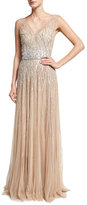 Pamella Roland Sleeveless Embellished Tulle Gown, Gold