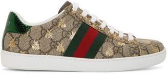 Gucci Beige GG Bee Ace Sneakers