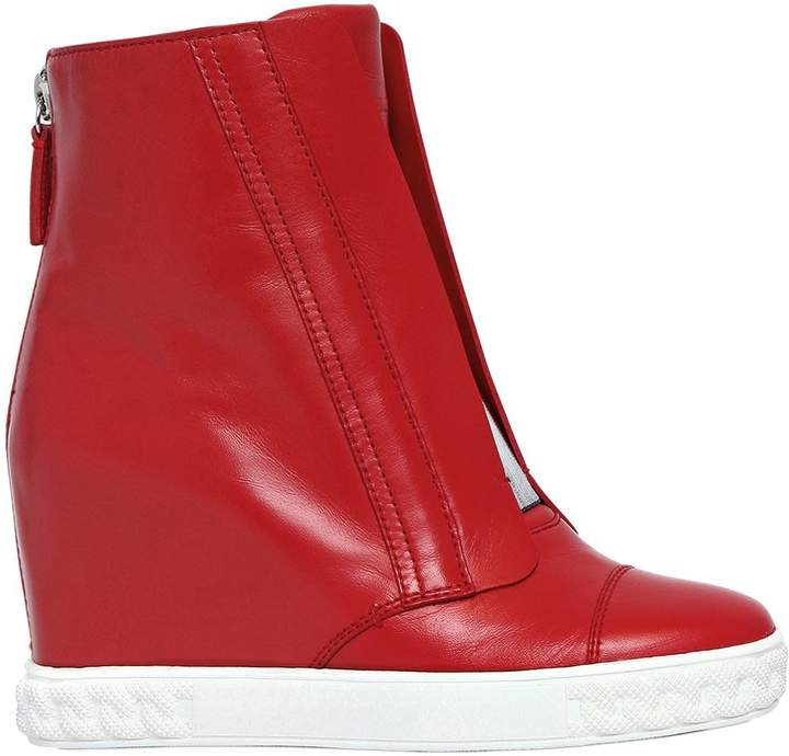 Casadei 80mm Leather Wedge Sneakers