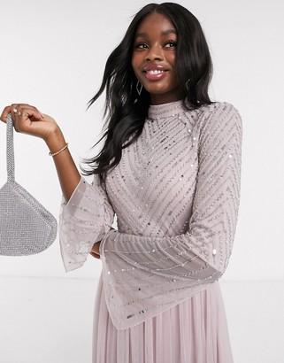 Amelia Rose Bridesmaid embellished maxi dress in blush