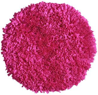 "Home Weavers Inc. Bella Premium Jersey Shaggy Area Rug, 36"", Round, Hot Pink"