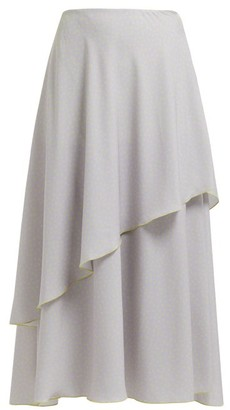 Vika Gazinskaya Draped Polka-dot Crepe Midi Skirt - Womens - Grey Multi