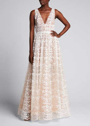 Bronx and Banco Megan V-Neck Lace Gown