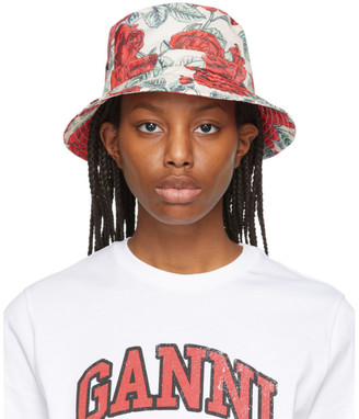 Ganni Off-White and Red Recycled Tech Seasonal Bucket Hat