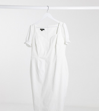 Vesper Plus puff sleeve midi dress in white