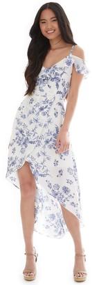 Iz Byer Juniors' Wrap High Low Flounce Surplice Dress