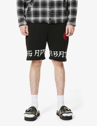 A Bathing Ape Letter print cotton-jersey shorts