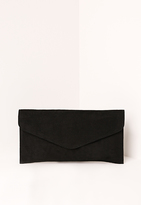 Missguided Black Faux Suede Envelope Clutch Bag