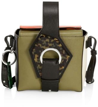 Ganni Micro Colorblock Leather Crossbody Box Bag