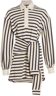 Derek Lam 10 Crosby Baxter Tie-Front Stripe Cotton Shirtdress