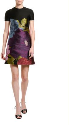 Valentino Short-Sleeve Floral Shift Dress