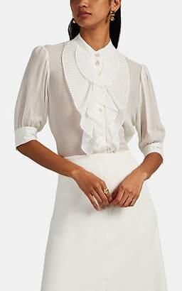 Givenchy Women's Sheer Silk Pleated-Bib Blouse - White