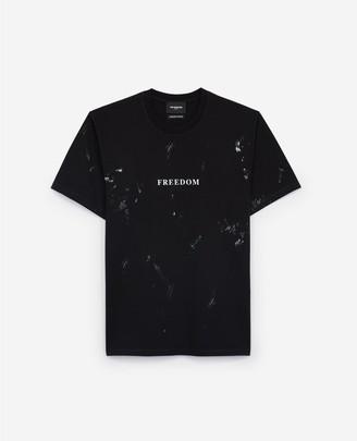 The Kooples Black printed jersey T-shirt w/Freedom print