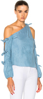 Nicholas Chambray Knot One Shoulder Top in Blue.