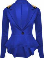 Lush Lane Womens Long Sleeves Plain Spikes Shoulder Peplum Button Blazer