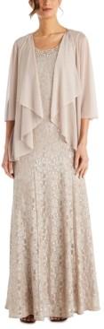 R & M Richards Petite Lace Gown & Jacket