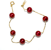 Zales 6.5 - 7.0mm Cranberry Cultured Freshwater Pearl Beaded Station Bracelet in 14K Gold
