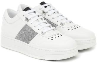 Jimmy Choo Hawaii/F glitter-trimmed leather sneakers