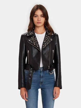 Pistola Denim Tracy Embellished Faux Leather Moto Jacket