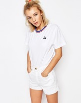 Le Coq Sportif White Oversized Boyfriend T-Shirt With Retro Trim