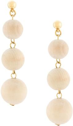 Oscar de la Renta Wooden Drop Earrings