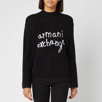 Armani Exchange Women's Logo Jumper - Black - S - Black