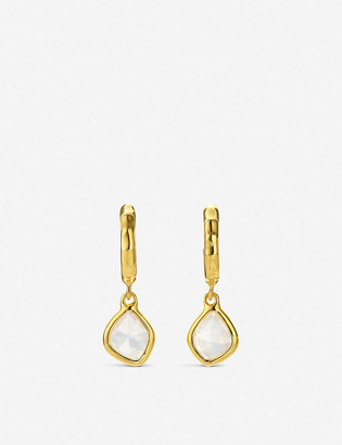 Monica Vinader Siren Nugget 18ct yellow gold-plated vermeil silver and moonstone hoop earrings