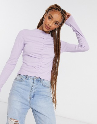 Monki Ruchie ruched front long sleeve top in lilac