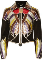 Givenchy Cropped Patchwork Metallic Leather Jacket - Black