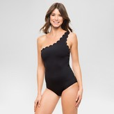 Vanilla Beach Women's Ribbed Scalloped One-Shoulder One Piece Swimsuit