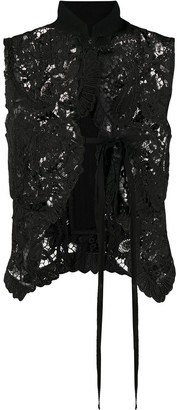 Ann Demeulemeester Floral Lace Fitted Vest