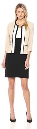 Sandra Darren Women's 2 Pc 3/4 Sleeve Color Block Crepe Sheath Jacket Dress