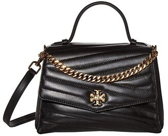 Tory Burch Kira Chevron Top-Handle Satchel (Black) Handbags