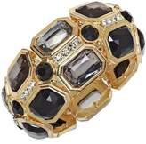 Charter Club Jet Black Stones and Crystal Stretch Bracelet, Gold-Tone